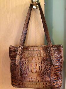 Brahmin Vintage Pecan Brown Embossed Croc Skin Leather Large Bag Tote