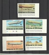 Cote Ivoire 434/38 zeppelins ballons pyramides Non Dentelés **coins de feuilles
