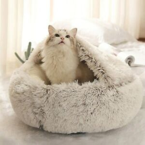 New Pet Dog Cat Round Plush Bed Semi-Enclosed Cat Nest for Deep Sleep Comfort