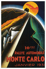 MONTE CARLO AUTO RALLY 1931 Grand Prix Racing Vintage Poster Reprint