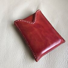 Antique Card Case Vintage Brown Leather Woven Binding Sliding Fathers Day