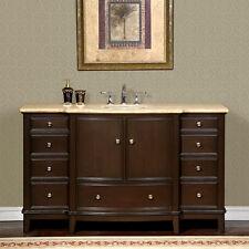 60-inch Travertine Stone Counter Top Bathroom Single Sink Vanity Cabinet 0237TR