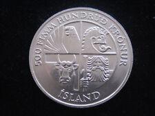 """MDS ISLAND ICELAND 500 KRÓNUR 1974 """"WIKINGER UND FRAU MIT KUH"""", SILBER  #3"""