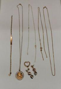 9ct 375 Gold - 7g - Bracelet - St Christopher - Pendants - Earrings Good / Scrap