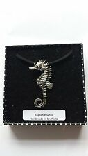C12 Seahorse Motif Pewter  PENDENT ON A BLACK CORD  Necklace Handmade