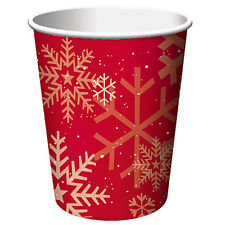 Unique 8 x Christmas Xmas Red Snowflake Paper Cups Cup Sparkle Tree