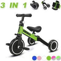 3 in 1 Kids Trike Tricycle Baby Balance Bike Toddlers w/ Removable Pedals Green
