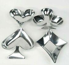 Poker Bridge Card Aluminum Candy Nut Dish Servers Diamond Club Heart Spade