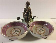 Art Nouveau Double Porcelain Dish, Brass  Figural Woman