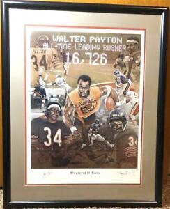 "CHICAGO BEARS WALTER PAYTON SIGNED FRAMED LITHO ""WHATEVER IT TAKES"" ARTIST #'d"