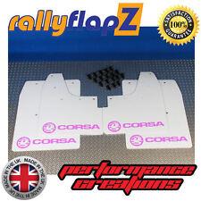Mudflaps rallyflapZ to fit VAUXHALL CORSA C (00-07) White Logo Baby Pink 4mm PVC