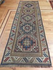 Brilliant Antique 3x8 Runner Oriental Russian Caucasian Rug Beige