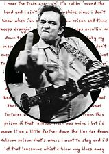 More details for johnny cash wall art poster folsom prison blues lyrics unframed picture print