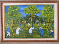 AUTHENTIC ORIGINAL VINTAGE HAITIAN PAINTING MEN AND WOMEN IN FRUIT ORCHARD