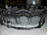 FOSTORIA COIN GLASS CRYSTAL OVAL BOWL