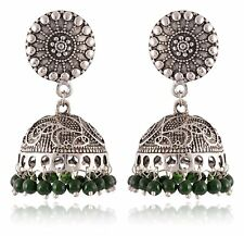 Indian Traditional Bridal Oxidized Silver Jhumka Earrings Women Fashion Jewelry