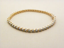 37 OF 1MM(.19ct) GENUNIE DIAMOND 18k GOLD VERMEIL BRACELET 6.5""