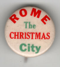 Red & green Vintage Holiday Pin! Rome The Christmas City!