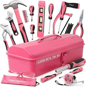 Pink Toolbox Womens DIY Hand Tools Set in Retro Style Carry Box Gift Sale