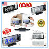 LED Digital Projection Alarm Clock FM Radio Snooze Dimmer Ceiling Projector HOT~