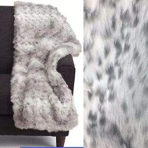 Nicole Miller Faux Fur Snow Leopard Throw Blanket Gray Spotted Luxury 50x60