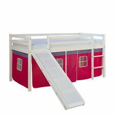 Hochbett mit Rutsche Spielbett Kinderbett 90x200 Kiefer Vorhang Jugendbett Bett
