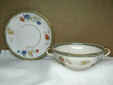 """Theodore Haviland Limoges Ganga 5-1/4"""" Cream Soup Bowl With Underplate"""