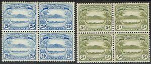 BRITISH SOLOMON ISLANDS 1908 SMALL CANOE 21/2D AND 5D BLOCKS