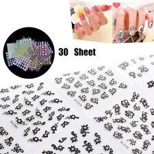 30 Sheet 3D Mix Color Floral Design Nail Art Stickers Manicure Decor k
