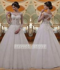 Custom Scoop Neck Long Sleeves Lace Up A-Line Wedding Dress Princess Bridal Gown