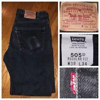 Vtg Levi's 505 Black Regular Fit Straight Leg Men's Denim Jeans Size 38 X 33 USA