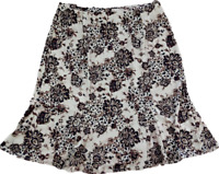 Apostrophe Skirt Beige Black Floral Stretchy A-Line Pleated Knee-Length Size XL