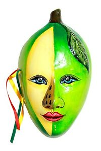 Mexican Porcelain Mask - Green Plant Woman