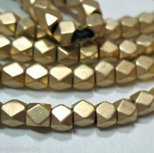 "Bright GP Gold Plated 4mm Faceted Square Nugget Beads 8.5"" 2mm Large Bead Hole"
