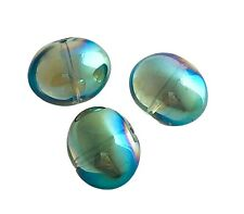 10 Celestial Crystal® 17mm Blue Green AB Smooth Oval Focal Glass Beads