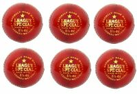 "6X CW  ""LEAGUE RED"" HIGH Quality 4 Piece Hand Stitch Cricket Ball -156 g+A Grade"