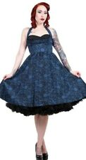 Stop Staring Clothing Black & Blue Lace Printed Halter Dress NWT XS Rockabilly