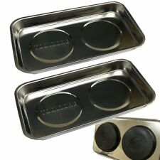 """2 Rectangular Stainless Steel 230mm (9"""") Magnetic Parts Trays Magnet Bowl / Dish"""
