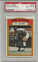 1972 TOPPS #446 TOM SEAVER, IN ACTION, PSA 8 NM-MT, HOF, NEW YORK METS