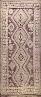 Antique Geometric Hand-knotted Moroccan Oriental Runner Rug Tribal Carpet 5'x12'
