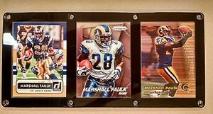 MARSHALL FAULK 3 CARD PLAQUE - INDIANAPOLIS COLTS -ST LOUIS RAMS-HALL OF FAMER