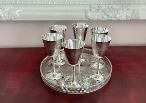 Fine Quality Set Of 6 Chased Silver Plated Tall Pedestal Wine Goblets & Tray
