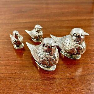(4) FIGURAL PORTUGESE STERLING SILVER SALT PEPPER SHAKER SET MOTHER / BABY BIRDS