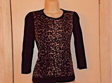 Ann Taylor Womans S Leopard Front Black Extra Fine Merino Wool Cardigan Sweater
