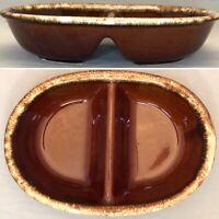 "Hull Pottery Brown Drip Glaze Divided Dish 7"" X 11"" USA"