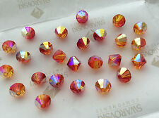 72 Swarovski #5301 6mm Crystal Fire Opal AB Faceted Bicone Beads
