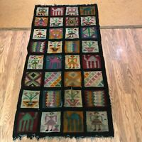 """Vintage Woven Rug African Tunisian 36"""" x 72"""" Colorful"""