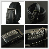 Mens Black Dress Fashion Leather Belt with Auto Lock Stainless Steel Buckle LX10