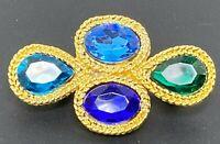 Vintage Blue Green Rhinestone Gold tone Brooch
