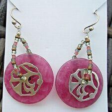 Silpada Vignetta Earrings W2238 Rose Quartzite Seed Beads Sterling Silver